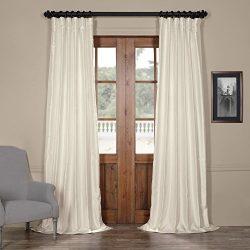 Half Price Drapes Pdch-HANB90-96 Yarn Dyed Faux Dupioni Silk Curtain, 50 x 96, Translucent Cream