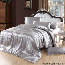 Great Taste Silver Gray Duvet Cover Set Silk Bedding Luxury Bedding, Full/Queen Size