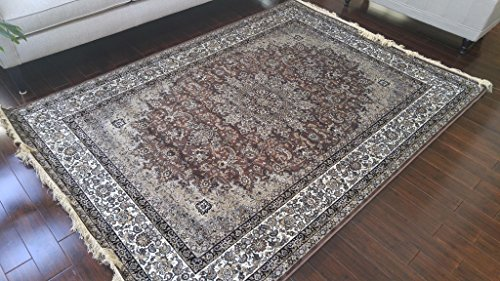 Brown Grey Ivory Black New Silk Traditional Isphan Area