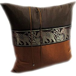Cozymomo One Pair Brown Big Elephant Stripe Throw Cushion Cover/Pillow Case Thai Silk for Decora ...