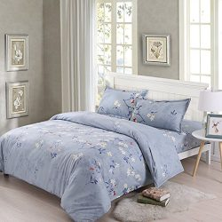 Duvet Cover Lavender Floral Printed Microfiber Full/Queen Size – Comfortable Dorm Bed Comf ...