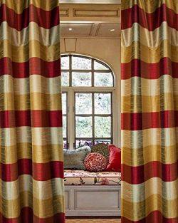 "Avalon 4 "" checks faux Silk curtain/drape/panel (52″W X 108″L)"