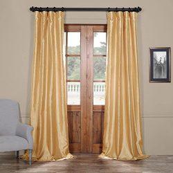 Half Price Drapes Ptch-JTSP15-108 Faux Silk Taffeta Curtain, 50 x 108, Soft Gold
