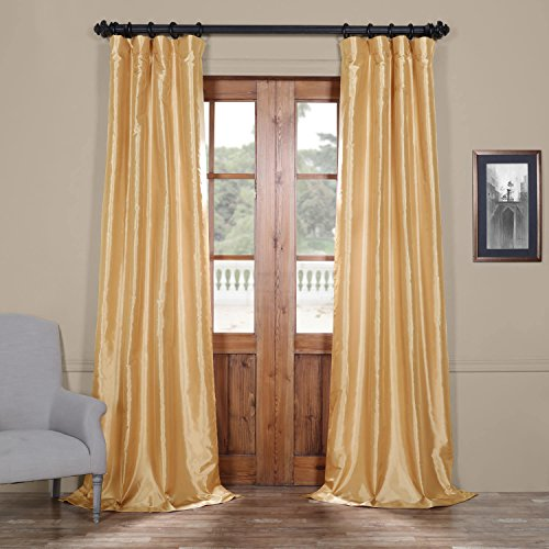 Half Price Drapes Ptch-JTSP15-108 Faux Silk Taffeta Curtain, 50 x 108, Soft Gold