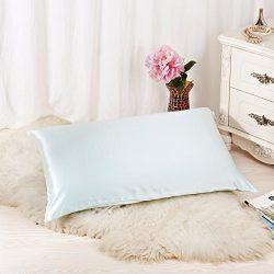 ALASKA BEAR Luxurious 25 momme Silk Pillowcase, 100% Mulberry Silk Pillow Cover, Queen (1, Aqua)