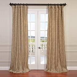 Half Price Drapes EFSCH-14083A-108 Embroidered Faux Silk Taffeta Curtain, Algeirs Champagne