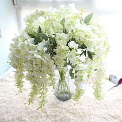 Artificial Silk Wisteria Fake Flowers , Cywulin 1 Bunch Hanging Flower Plant Vine Decor for Wedd ...