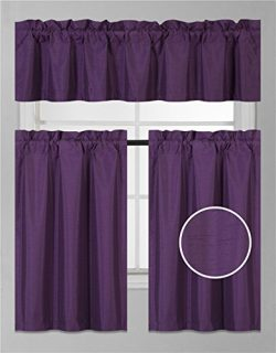 GorgeousHomeLinen (K3) Tier and Valance Faux Silk Rod Pocket Blackout Curtain Set for Small Wind ...