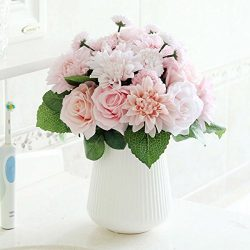 Bringsine Bridal Wedding Bouquet Flower Arrangement Home Decorative Flowers Real Touch Silk Arti ...