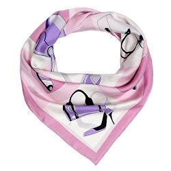 Silk Scarf Luxurious Hair Wrap – Pink Square 14mm Twill Mulberry Silk