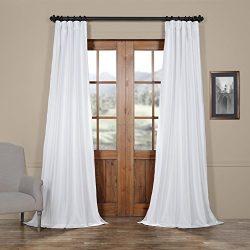 Half Price Drapes PTCH-JTSP120-120 Faux Silk Taffeta Curtain, Eggshell