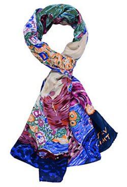 Salutto Women 100% Silk Scarves Virgin Klimt Painted Scarf