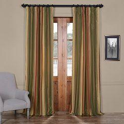 Half Price Drapes PTSCH-52012-84 Faux Silk Taffeta Stripe Curtain, Mirage
