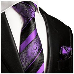 Purple and Black Silk Tie and Pocket Square . Paul Malone Red Line