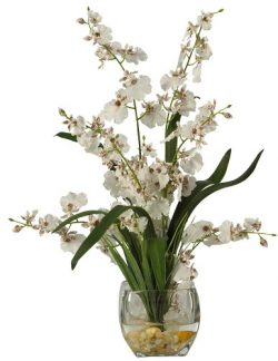 Nearly Natural 1119-WH Dancing Lady Orchid Liquid Illusion Silk Flower Arrangement, White