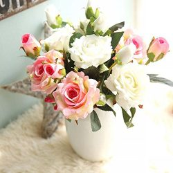 Artificial Flowers, Fake Flowers Silk 9 Heads Roses Bouquets Gifts Wedding Party Kitchen Home De ...