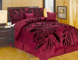Oversize Queen Faux Silk Modern Burgundy Black Flocking Satin Comforter Set Bedding-in-a-bag.