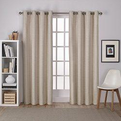 Exclusive Home Curtains Raw Silk Thermal Room Darkening Grommet Top Window Curtain Panel Pair, T ...