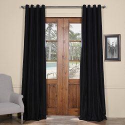 Half Price Drapes PTCH-BO41-96-GR Grommet Faux Silk Taffeta Curtain, Black, 50 x 96″
