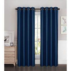 Window Elements Kim Faux Silk Extra Wide 108 x 84 in. Grommet Curtain Panel Pair, Navy