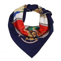 Silk Scarf Luxurious Hair Wrap – 100% Nature Silk 14mm Twill Navy Blue Square Square (silk ...