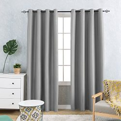 Antibacterial Faux Silk Blackout Curtains Thermal Insulated Dupioni Grommets Top for Living Room ...