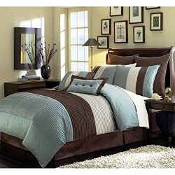 Chezmoi Collection 90 x 92-Inch 8-Piece Luxury Stripe Comforter Bed-in-a-Bag Set, Blue/Beige/Bro ...