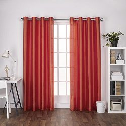 Exclusive Home Curtains Chatra Faux Silk Grommet Top Window Curtain Panel Pair, Orange Crush, 54 ...