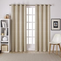 Exclusive Home Curtains Virenze Faux Silk Grommet Top Window Curtain Panel Pair, Taupe, 54×96