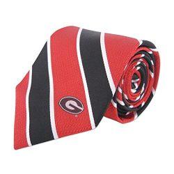 NCAA Georgia Bulldogs Mens Woven Silk Thin Stripe Collegiate Logo Tie 2, Red and Black, One Size