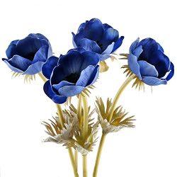 Artificial Silk Flowers, GTIDEA 4PCS Fake PU Anemone Bunch Faux Royal Blue Bouquet Table Centerp ...