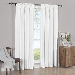 Set of 2 Panels 84″Wx84″L – Solid White- Soho Faux Silk Curtain Panels , 42-In ...