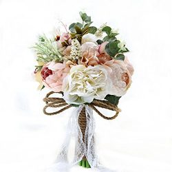 "Zebratown 9.5"" Peony Bridal Bridesmaid Bouquets Artificial Pink Rose Silk Flowers Bouquet  ..."