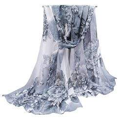 Herebuy – Unique Women's Floral Scarves: Chiffon Flowers & Birds Printed Scarf ( ...