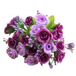 Transer 21 Heads Artificial Rose Silk Fake Flower Leaf Home Decor Bridal Bouquet (Purple)