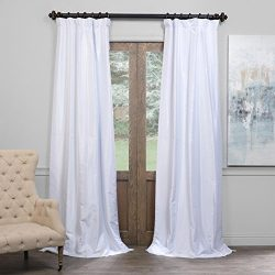 Half Price Drapes PDCH-KBS1BO-96 Blackout Vintage Textured Faux Dupioni Curtain, Ice, 50 X 96