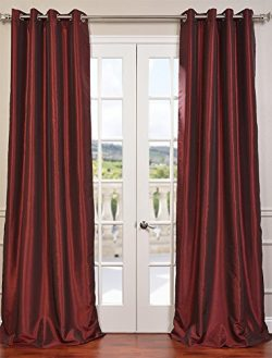 Half Price Drapes PDCH-KBS5-84-GRBO Grommet Blackout Vintage Textured Faux Dupioni Silk Curtain, ...