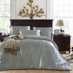 Duvet Cover Set With Flat Sheet Queen Size 4 Piece Silk Like Feeling Great Lightweight Soft Wint ...