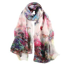 STORY OF SHANGHAI Womens Large Mulberry Silk Scarf Ladies Floral Designer Scarf Luxury Shawl Wra ...