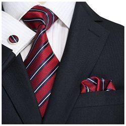 Landisun SILK Stripes Mens SILK Tie Set: Necktie+Hanky+Cufflinks 18007 Red, 3.25″Wx59″L