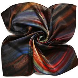 Women's Lightweight Floral Square Silk Scarf Shawl