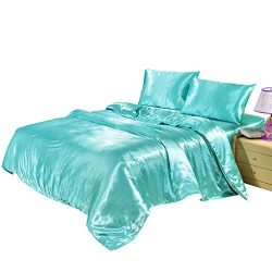 Hotel Quality Solid Aqua Blue Duvet Cover Set Queen/Full Size Silk Like Satin Bedding with Hidde ...