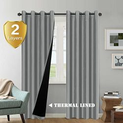 100% Blackout Thermal Insulated Extra Long Grey Curtains Faux Silk Lined Curtain Panels Window T ...