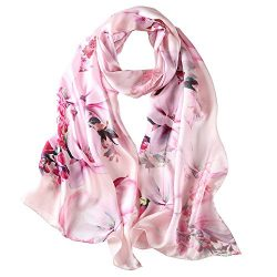 Pink Hibiscus, 69 x 21 inches Silk Scarf, Fashion for Women Perfect Christmas Gift Elegant Wrap