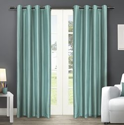 Exclusive Home Curtains Chatra Faux Silk Grommet Top Window Curtain Panel Pair, Teal, 54×108