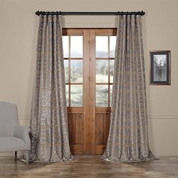 Half Price Drapes PTFFLK-C7-120 Flocked Faux Silk Curtain, 50 x 120, Silver & Gold