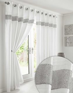Kimberley White Faux Silk Fully Lined Ready Made 66 x 90 Inch Drop Pair Curtainswith Strips of D ...