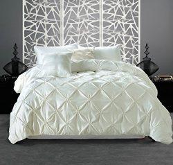 MeiLa 3 Piece Pinch Pleat Pintuck Design Luxury Soft Brushed Silk Duvet Cover Set – White  ...