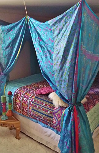 Blue Moroccan Dream- Gypsy Blue Print Patchwork Bed Canopy by HippieWild- NEW IN STOCK Boho silk ...