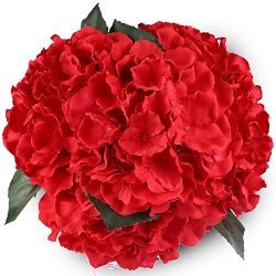 Silk Hydrange Red 5 Heads SOLEDI Artificial Flower Arrangements Bunch Bridal Bouquet Wedding Par ...